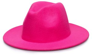Chapéu Fedora Rosa Pink Aba Reta 7cm Feltro Liso