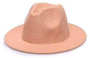 Chapéu Fedora Bege Aba 7cm Liso