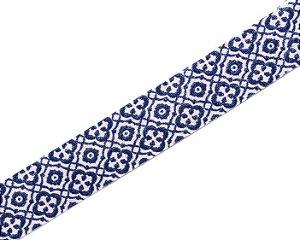 Faixa Estampada Azul e Branco