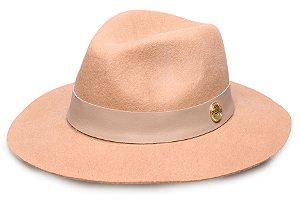 Chapéu Fedora Bege 100% lã Aba Maleável 7cm Coleção Couro