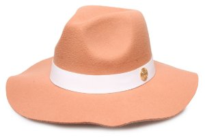 Chapéu Fedora Bege Escuro Aba Maleável 7cm Coleção Couro