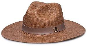 Chapéu Panamá Aba Grande Caramelo Coleção Couro