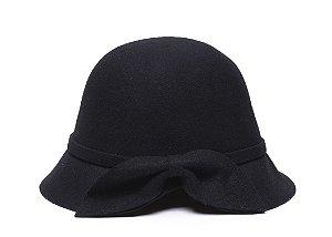 Chapéu Clochê Preto Aba 5cm Com Laço 100% Lã Feminino