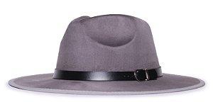 Chapéu Fedora Cinza Nobuck Aba Maleável 8cm Cinto