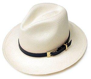 Chapéu Panamá Aba grande Faixa de Couro Preto Customizado
