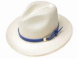 Chapéu Panamá Aba Grande Montecristi Customizado Azul