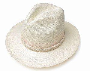 Chapéu Panamá Aba Grande Faixa Trançada Customizado