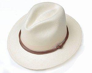 Chapéu Panamá Couro Marrom Amarradinho Montecristi
