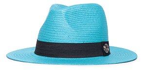 Chapéu Estilo Panamá Azul Aba Média 7cm Palha Shantung Clássico