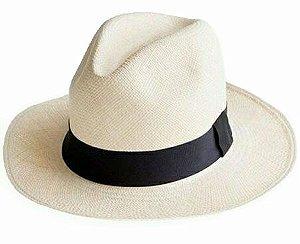 Chapéu Panamá Original Montecristi Palha Toquilla Aba Média Clássico
