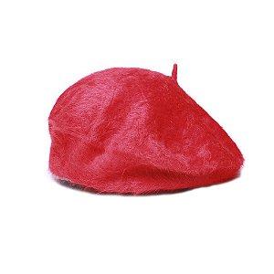 Boina Francesa Vermelha Pelúcia