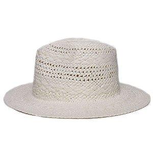 Chapéu Fedora Creme Aba Reta 7cm Palha Trançada Liso