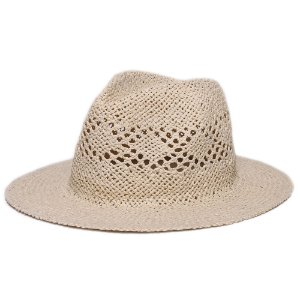 Chapéu Fedora Bege Aba Reta 7cm Palha Vazada Liso