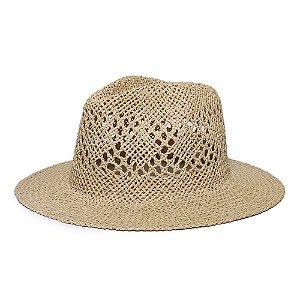 Chapéu Fedora Caramelo Aba Reta 7cm Palha Vazada Liso