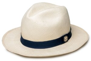 Chapéu Panamá Palha Natural Faixa Azul Marinho