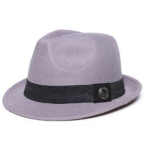 Chapéu Fedora Cinza Aba Curva 4cm Feltro Faixa Clássica