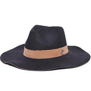 Chapéu Fedora Preto Aba Maleável 10cm Feltro Faixa Veludo Caramelo