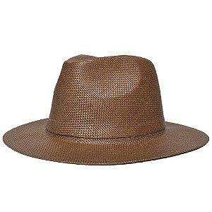 Chapéu Fedora Marrom Escuro Aba Reta 7cm Palha Shantung Liso