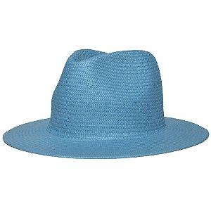 Chapéu Fedora Azul Aba Reta 7cm Palha Shantung Liso