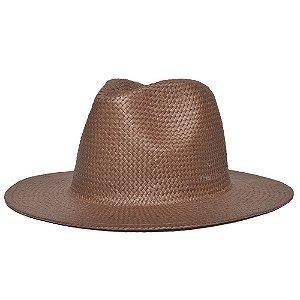 Chapéu Fedora Marrom Aba Reta 7cm Palha Shantung Liso
