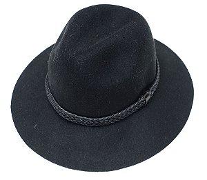 Chapéu Fedora Preto Aba Média Customizado