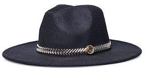 Chapéu Fedora Preto Aba 8cm Faixa Metalizada Dourada