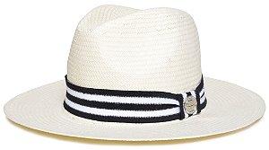Chapéu Fedora Creme Aba Média 7cm Palha Shantung Faixa Listrada Coleção Stripes II