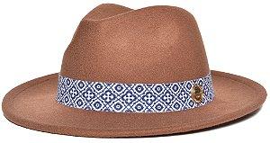 Chapéu Fedora Caramelo Aba Média 6,5cm Feltro Faixa Ethnic Azul