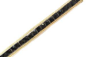 Faixa Estampa Diamond Corrente Dourada Pedras Pretas