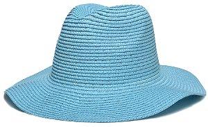 Chapéu Fedora Palha Aba Maleável 8cm Azul LISO
