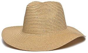 Chapéu Fedora Palha Aba Maleável 8cm Bege LISO