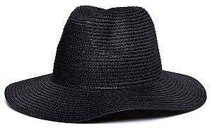 Chapéu Fedora Palha Aba Maleável 8cm Preto LISO