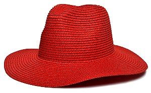 Chapéu Fedora Vermelho Palha Aba Maleável 8cm LISO