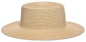 Chapéu Palheta Palha Aba Maleável 8cm Bege LISO