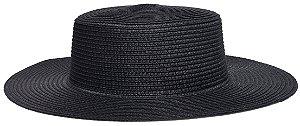 Chapéu Palheta Palha Aba Maleável 8cm Preto LISO