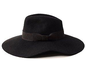 Chapéu Fedora Preto Aba 10cm Laço Customizado