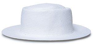 Chapéu Pork Pie Palha Aba Reta 7cm Branco LISO