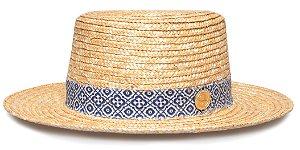 Chapéu Boater Palheta Aba Média Palha Dourada Coleção Ethnic Azul