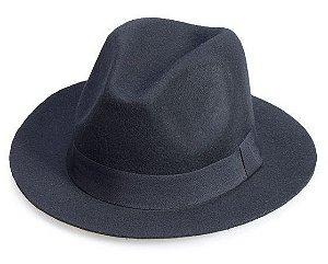 Chapéu Fedora Feltro Preto Aba Curta 5cm Clássico