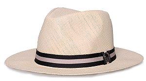 Chapéu Estilo Panamá Aba Média 7cm Palha Sintética Faixa Listrada Preta e Bege