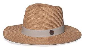 Chapéu Fedora Caramelo Palha Aba Maleável 8cm Faixa Coleção Couro Bege