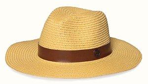 Chapéu Fedora Amarelo Palha Aba Maleável 8cm Coleção Couro Caramelo