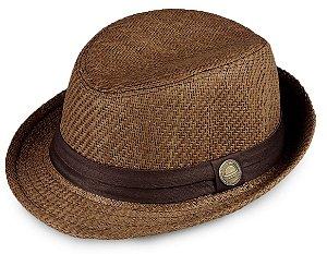 Chapéu Fedora Palha Marrom Aba Curta 4cm