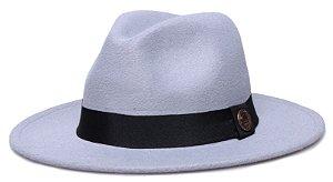 Chapéu Fedora Cinza Claro Aba Reta 7cm Feltro Faixa Clássica