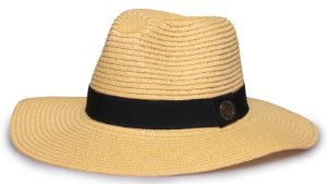 Chapéu Fedora Palha Amarelo Aba Maleável 8cm Faixa Clássica