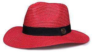 Chapéu Fedora Vermelho Palha Aba Maleável 8cm Faixa Clássica
