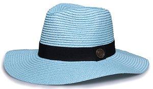 Chapéu Fedora Azul Palha Aba Maleável 8cm Faixa Clássica