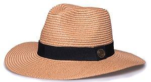 Chapéu Fedora Palha Caramelo Aba Maleável 8cm Faixa Clássica