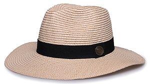 Chapéu Fedora Bege Palha Aba Maleável 8cm Faixa Clássica