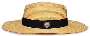 Chapéu Palheta Amarelo Palha Aba Maleável 8cm Faixa Clássica